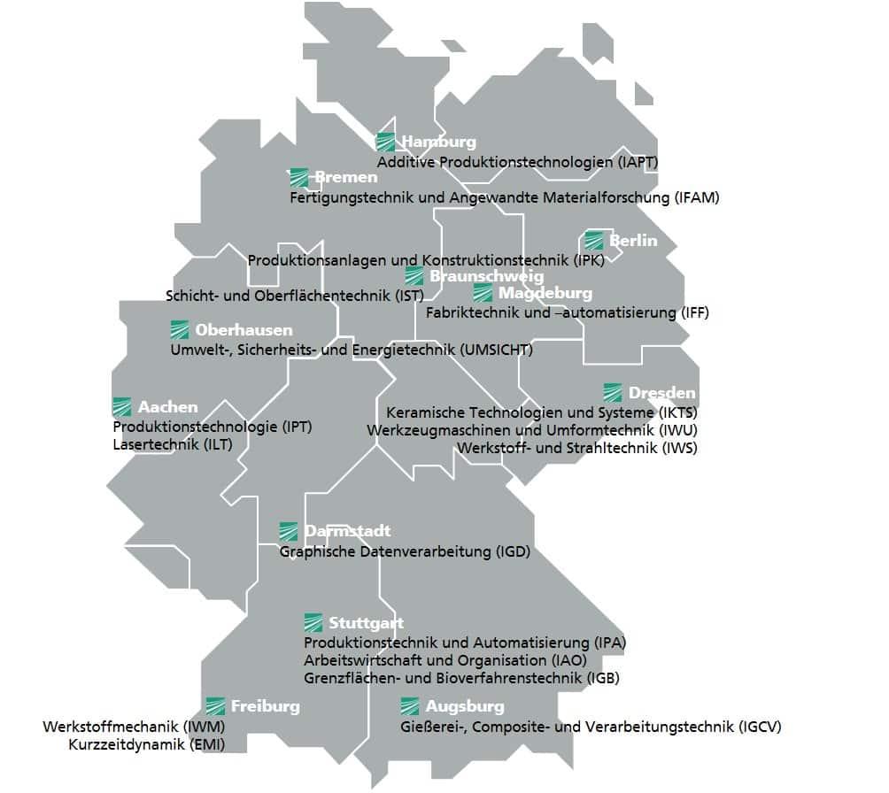 Im Kompetenzfeld Additive Fertigung der Fraunhofer-Gesellschaft sind Institute aus ganz Deutschland vertreten. | Grafik: Fraunhofer
