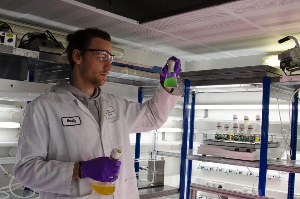 Dr. Moritz Koch mit Cyanobakterien | Foto: Niels Neumann