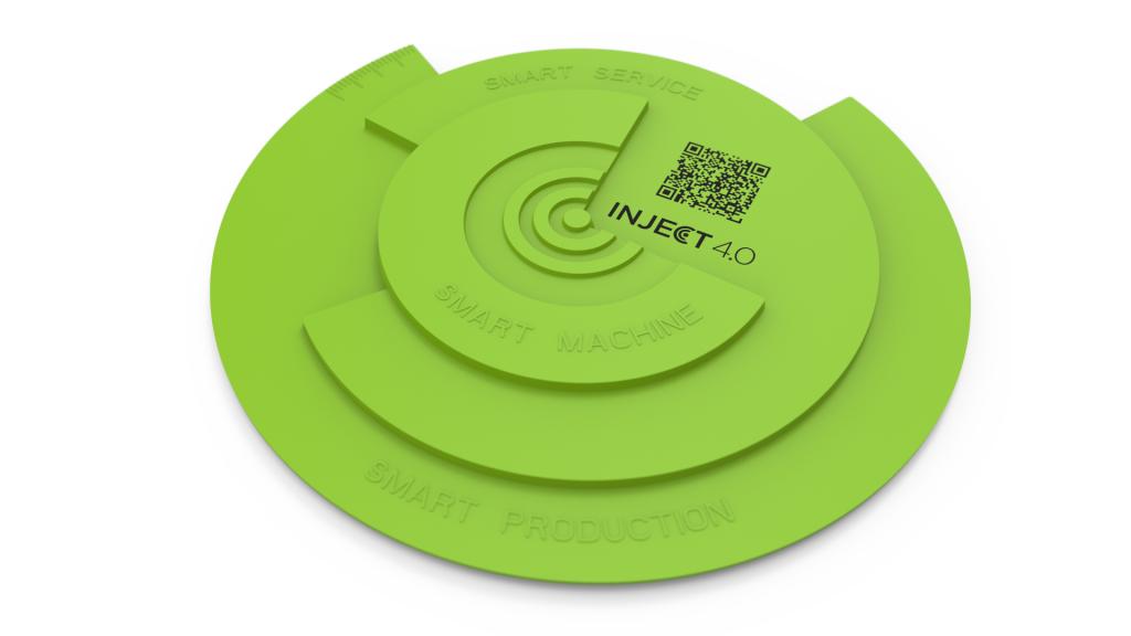 Wie sich das Potenzial der Digitalisierung ausschöpfen lässt, demonstriert ENGEL während der Chinaplas mit der Herstellung von inject 4.0 Logos auf einer e motion 80 TL Spritzgießmaschine.   Foto: ENGEL